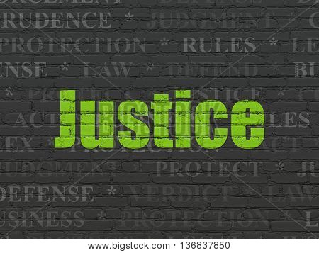 Law concept: Painted green text Justice on Black Brick wall background with  Tag Cloud