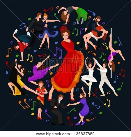 Girl flamenco dancer in red dress, spanish beautiful dance, spain young woman, Dancing couples, happy sexy woman dancing flamenco, Spanish girl vector illustration isolated on white, Dancing flamenco woman