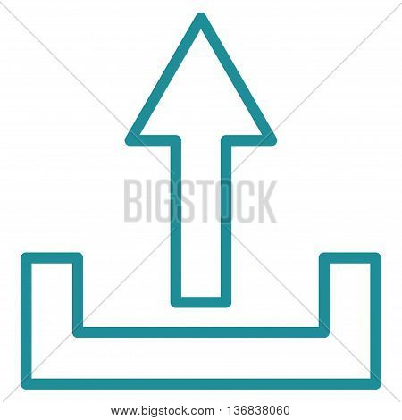 Upload vector icon. Style is contour icon symbol, soft blue color, white background.