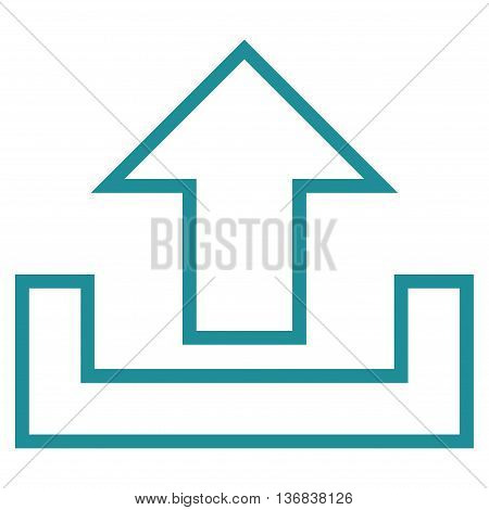 Upload vector icon. Style is stroke icon symbol, soft blue color, white background.