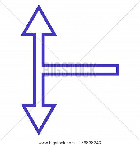 Bifurcation Arrow Up Down vector icon. Style is stroke icon symbol, violet color, white background.