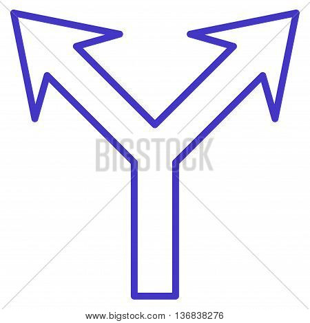 Bifurcation Arrow Up vector icon. Style is stroke icon symbol, violet color, white background.