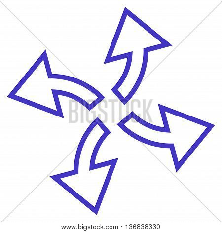 Centrifugal Arrows vector icon. Style is thin line icon symbol, violet color, white background.