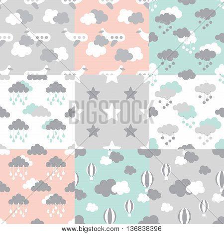 Set of Scandinavian trend seamless pattern. Newborn seamless vector patterns. Kid pattern. Vector seamless baby pattern. Kids bed linen. Polish cotton American cotton Chinese cotton.