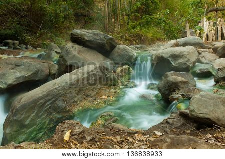 Hot springs with green water seen in Costa Rica