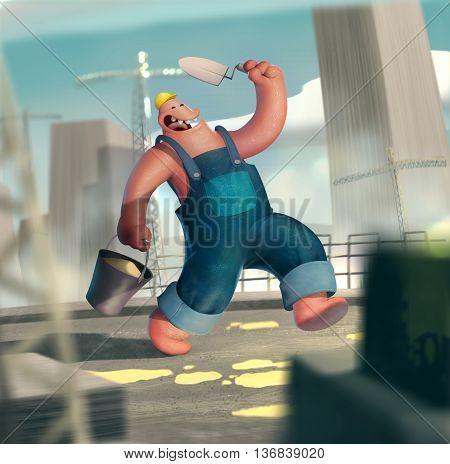 Funny worker foreman in yellow casket construction skyscraper