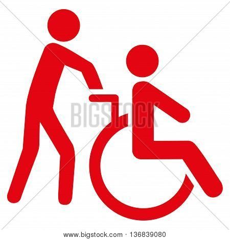 Disabled Person Transportation vector icon. Style is flat icon symbol with rounded angles, red color, white background.