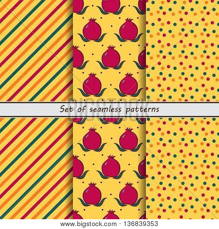 set of seamless patterns grenades strip dots fruit vector design