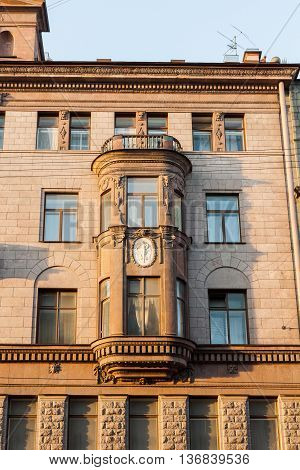 Beautiful facade of a house in the neoclassical style.