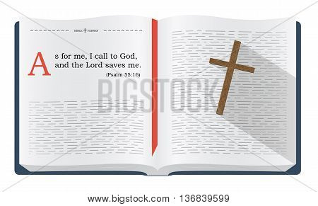 Best Bible verses to remember - Psalm 55:16 how God saves the believers. Holy scripture inspirational sayings for Bible studies and Christian websites illustration isolated over white background