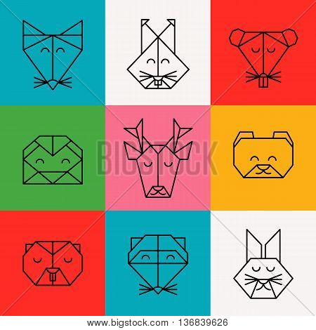Stylized front view animal heads. Animal triangle icon set. Vector polygonal animals. Geometric line design icon set. Vector polygonal animals for tattoo or coloring book. Forest animals collection.