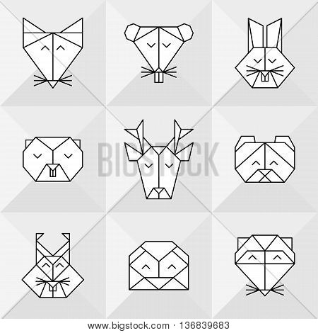 Stylized front view animal heads. Animal polygonal heads. Vector low poly animals. Low poly line design icon set. Vector low poly animals for tattoo. Low poly forest animals collection.