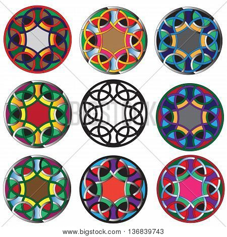 ancient colored mosaic created by geometric primitives