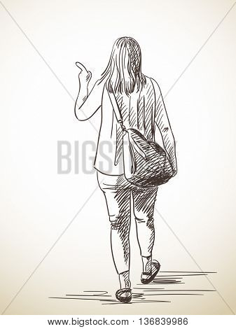 Sketch of woman walking away and pointing with finger, Hand drawn illustration