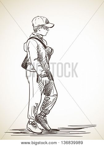 Sketch of walking boy in cap, Hand drawn illustration