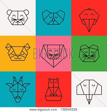 Stylized front view animal heads. Animal triangle icon set. Vector polygonal animals. Geometric line design icon set. Vector polygonal animals for tattoo or coloring book. Jungle animals collection.