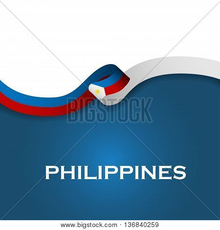 Philippines Sport Style Flag Ribbon Classic Style. Vector Illustration