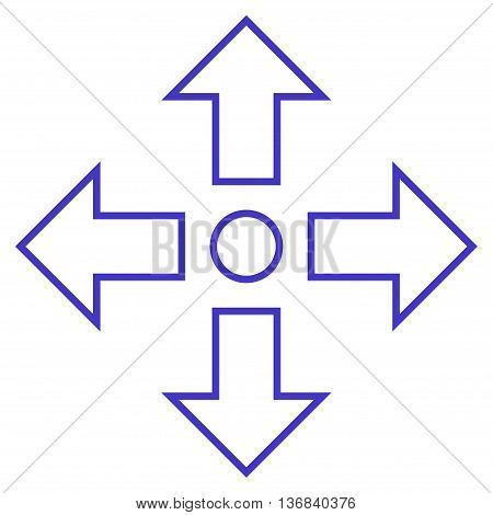 Maximize Arrows vector icon. Style is outline icon symbol, violet color, white background.