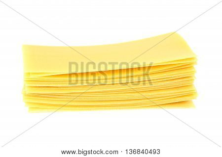 Lasagne sheets pasta isolated on a white