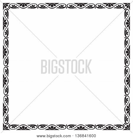 Decorative black square frame with floral vignettes