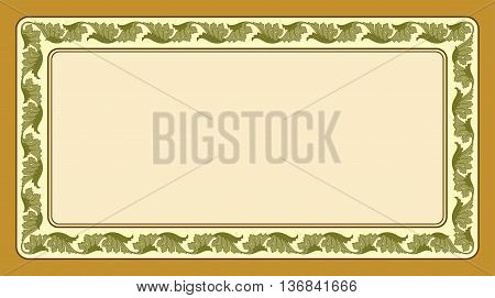 Rectangular floral frame and background for cards