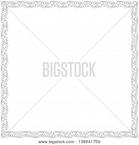 Decorative black square frame with floral vignettes.