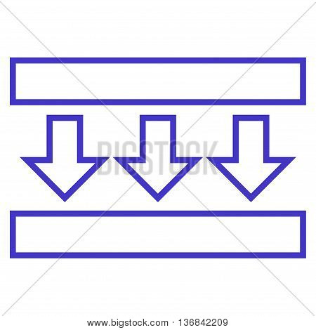 Pressure Down vector icon. Style is stroke icon symbol, violet color, white background.