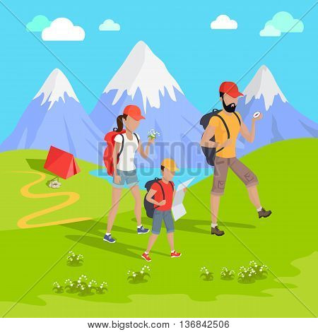 Man traveler with backpack hiking equipment walking in mountains. Mountain tourism concept in cartoon design style. Family trip to the mountains Vector illustration