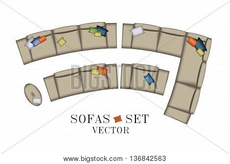 Sofas Armchair Set. Top view. Furniture, Pouf, Pillows for Your Interior Design. Flat Vector Illustration. Scene Creator. Beige Color, Curved Shape 1