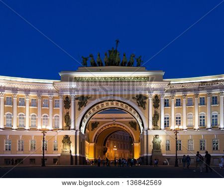 Arch of the General Staff Building on Palace Square in St. Petersburg