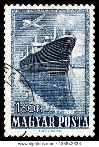 STAVROPOL RUSSIA - JUNE 28 2016: a stamp printed by Hungary shows Steamship circa 1950