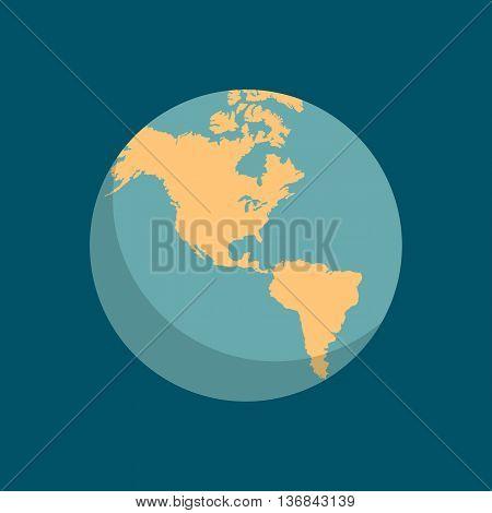 Earth world globe school icon. Education symbol. Geography Earth map. Vector illustration