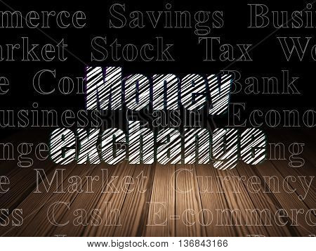 Money concept: Glowing text Money Exchange in grunge dark room with Wooden Floor, black background with  Tag Cloud