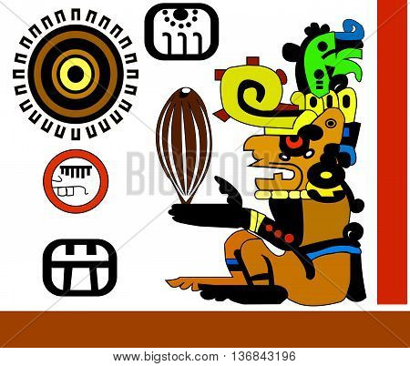 Cocoa beans in the hands of the priest. Ethnic pattern of American Indians: the Aztecs, the Mayans, the Incas. Vector illustration