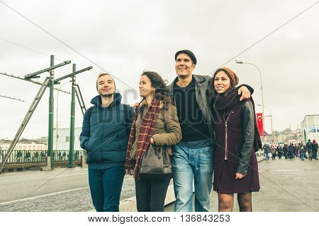 Group Of Turkish Friends Walking In Istanbul