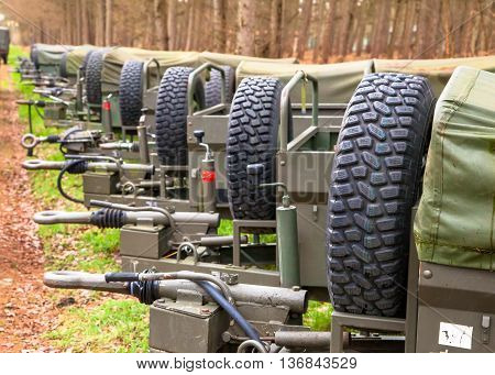 Military Transport Trailers In A Row