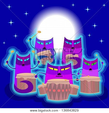 Cats play the drums. Cats are sitting on the background of the starry sky above their heads shines full moon.