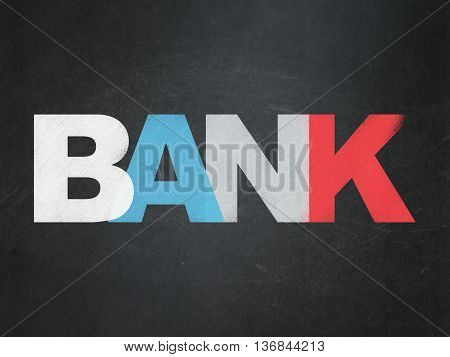 Currency concept: Painted multicolor text Bank on School board background, School Board
