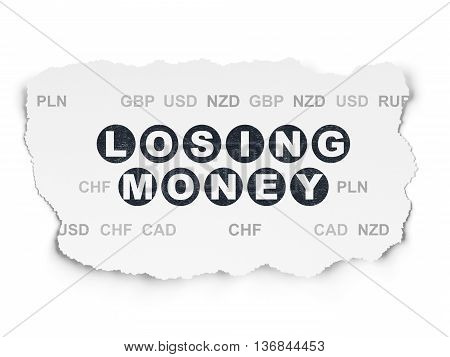 Banking concept: Painted black text Losing Money on Torn Paper background with  Currency