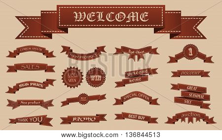 Embroidered Brown Vintage Ribbons And Stumps With Business Text. Can Be Used For Banner, Award, Sale