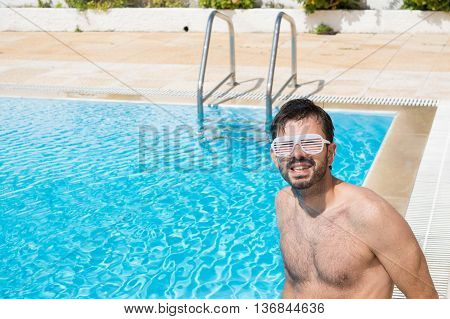 Young Men In The Swimming Pool Ready For Party