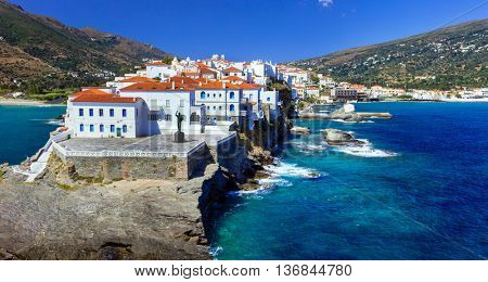 beautiful Greek islands series - Andros, view of Chora. Cyclade