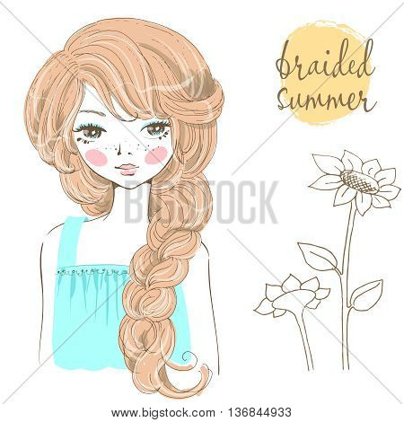 Beautiful romantic girl with braided hair. Trendy summer hairstyle. Lettering and sunflowers on the background.