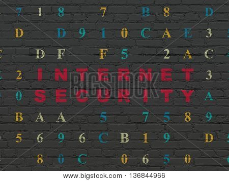 Security concept: Painted red text Internet Security on Black Brick wall background with Hexadecimal Code