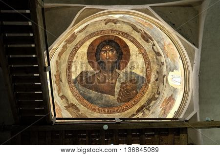 VELIKY NOVGOROD RUSSIA-JULY 1 2016. Christ Pantocrator - painting in the dome of Our Savior Church on Ilyin street by Theophanes the Greek who was a Byzantine Greek artist and famous icon painter.