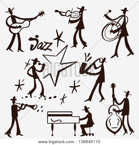 Jazz band , musicians - doodles set , design elements