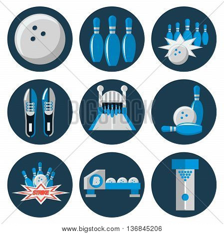 Bowling flat icon set. Vector illustration, EPS 10