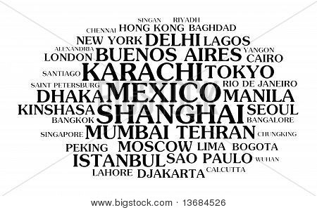 The Most Populated Cities - Word Cloud