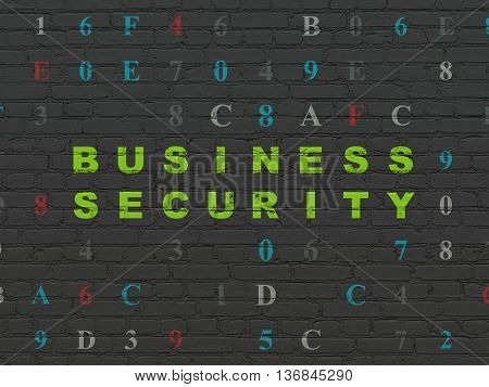 Safety concept: Painted green text Business Security on Black Brick wall background with Hexadecimal Code