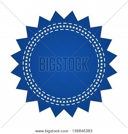 Embroidered Blue Round Ribbon Stamp Isolated On White. Can Be Used For Banner, Award, Sale, Icon, Lo